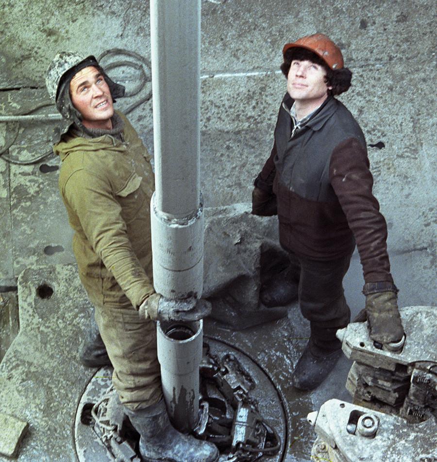 Pekerja minyak di wilayah Tyumen.
