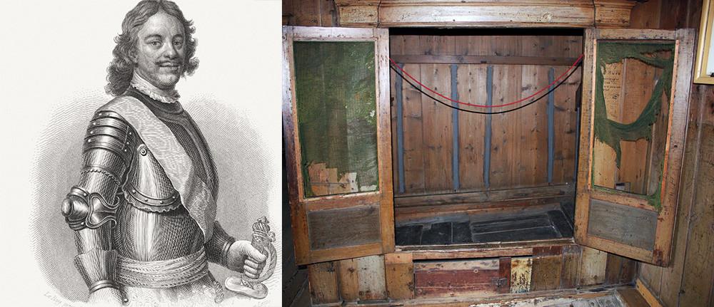 Петър Велики (отляво) и леглото, в което е спял. изложено в Зандаам в Холандия (отдясно)