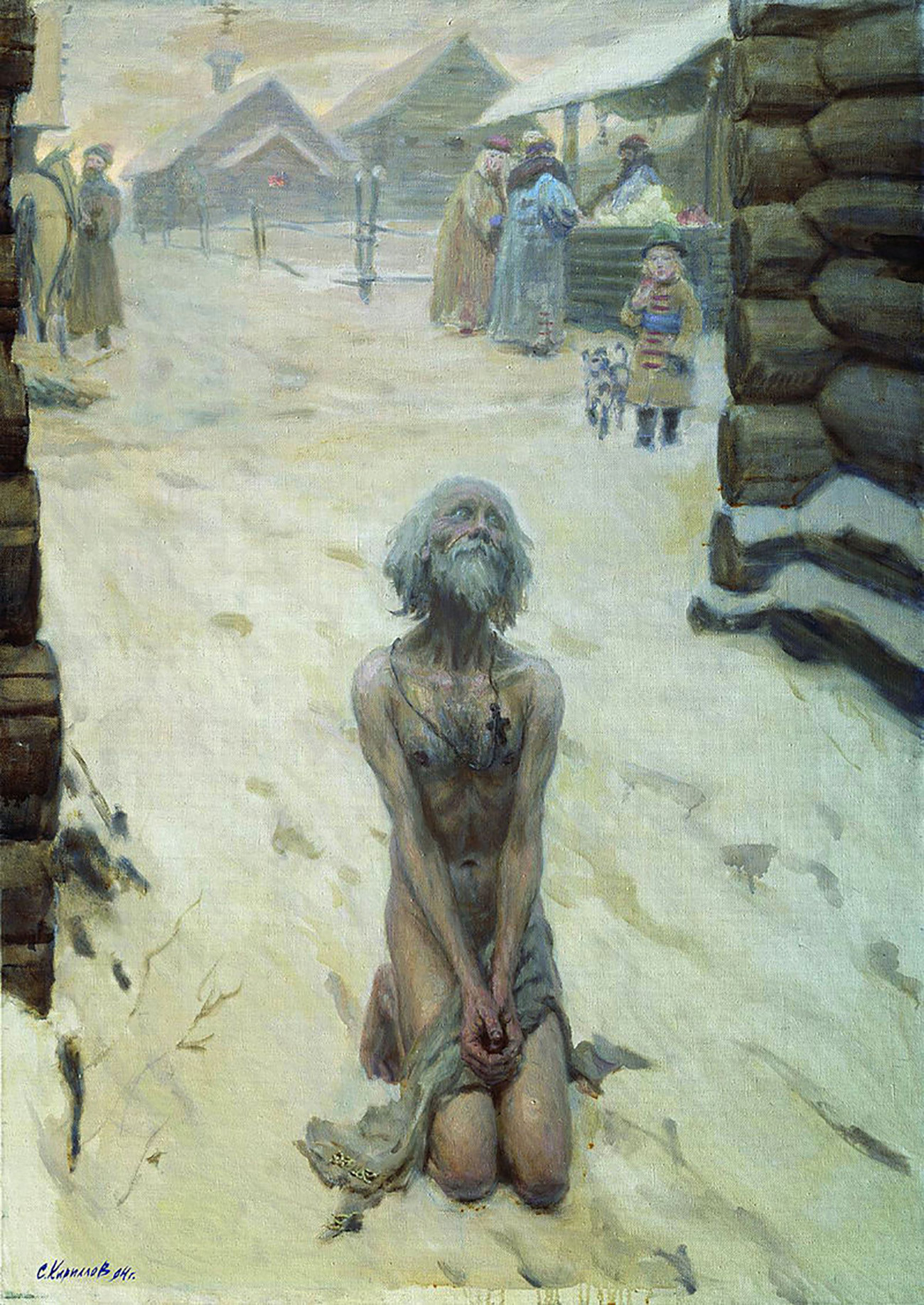 Le fol-en-Christ Saint Basile priant presque nu dans la neige