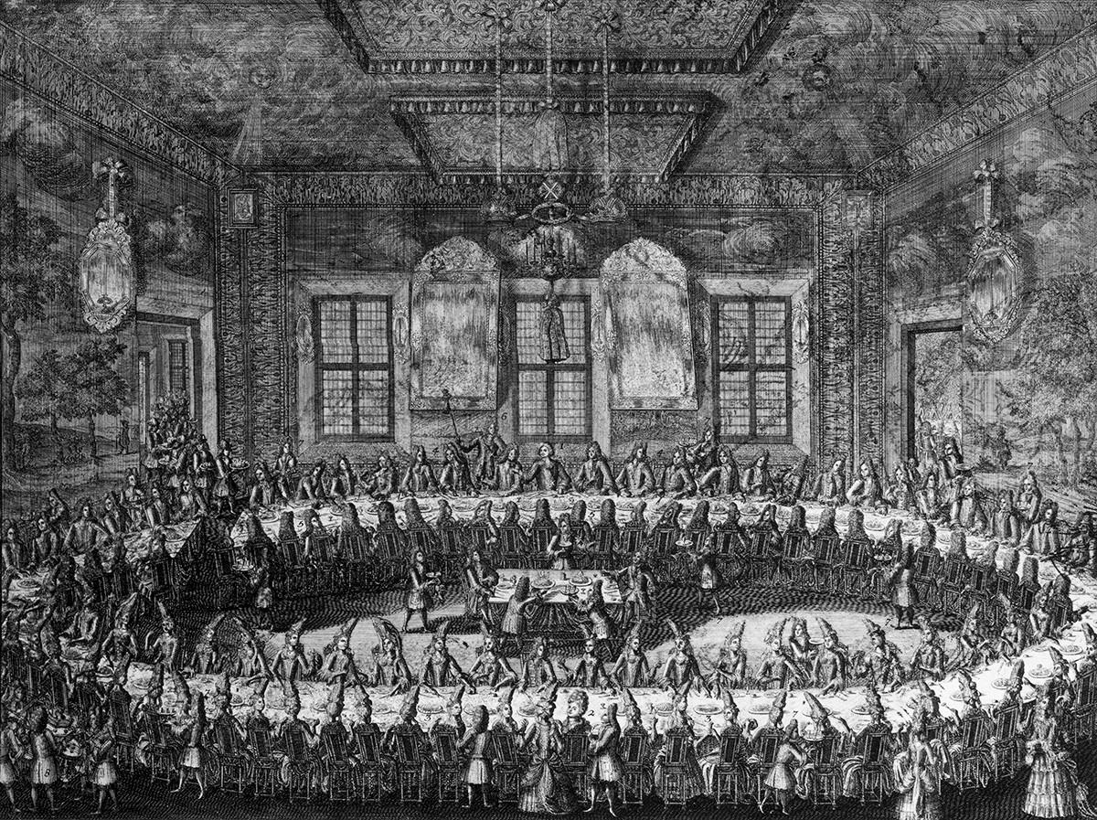 Застолье на свадьбе Петра I и Екатерины I в феврале 1712 г.