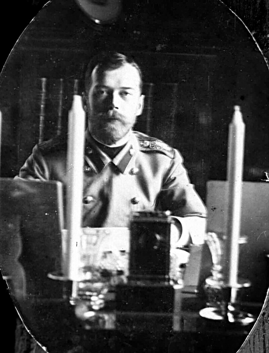 Nicholas II taking a selfie in his study, 1900