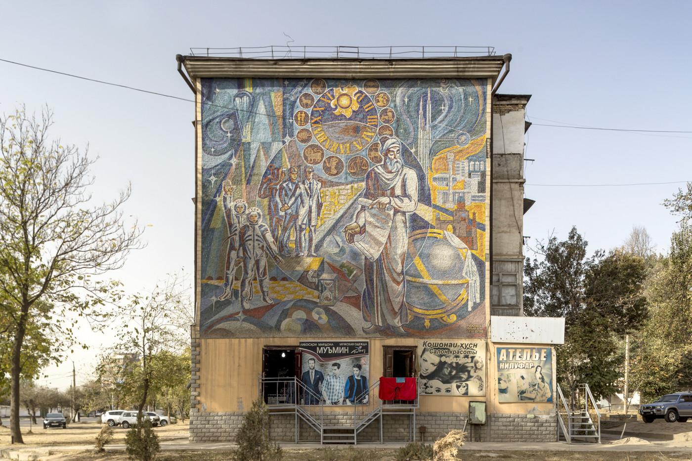 Mosaico di Avicenna (1988). Dushanbe, Tajikistan