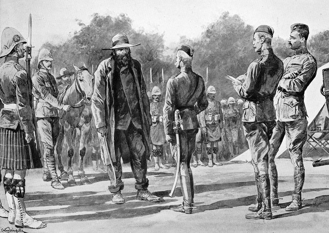 Пит Кронже, бурски лидер и ратник, предаје се лорду Робертсу, Пардеберг, Ј.Африка 1900. Кронже (1835-1911) се борио против Британаца у Првом бурском рату. 29. децембра 1895. победио Џејмсонов одред код Кругерсдорпа. У Другом бурском рату (1899-1902) је победио Британце код Магерсфонтејна 11.12.1899.