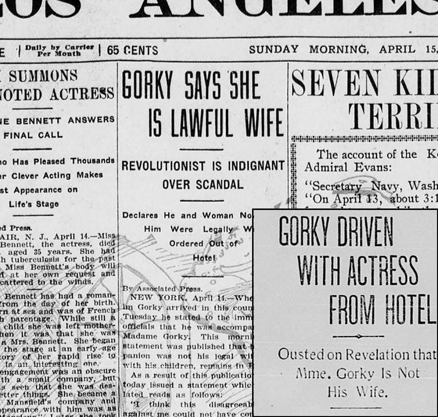 Газеты пестрили статьями о Горьком и его жене - вот некоторые из них