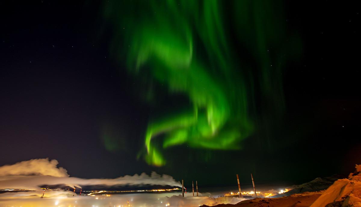 Aurora Boreal em dezembro de 2018 em Norilsk.