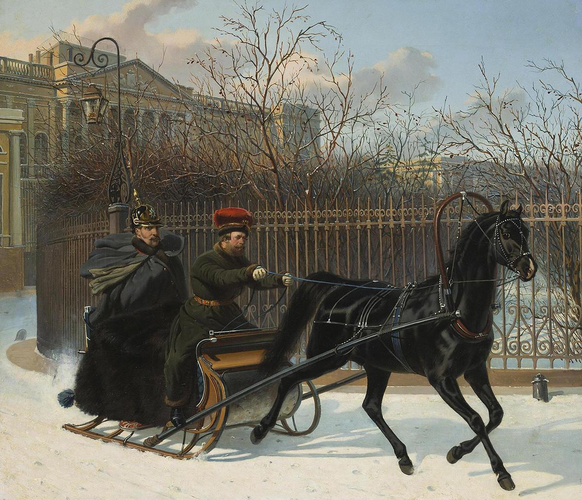 『橇に乗っているニコライ2世ニコライ1世』、ニコライ・スウェルチコフ、1850年代