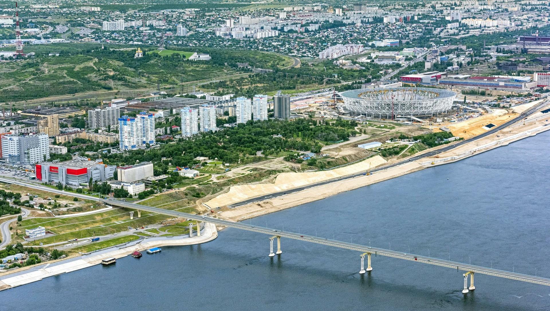 Pemandangan Volgogradskaya oblast dari atas.