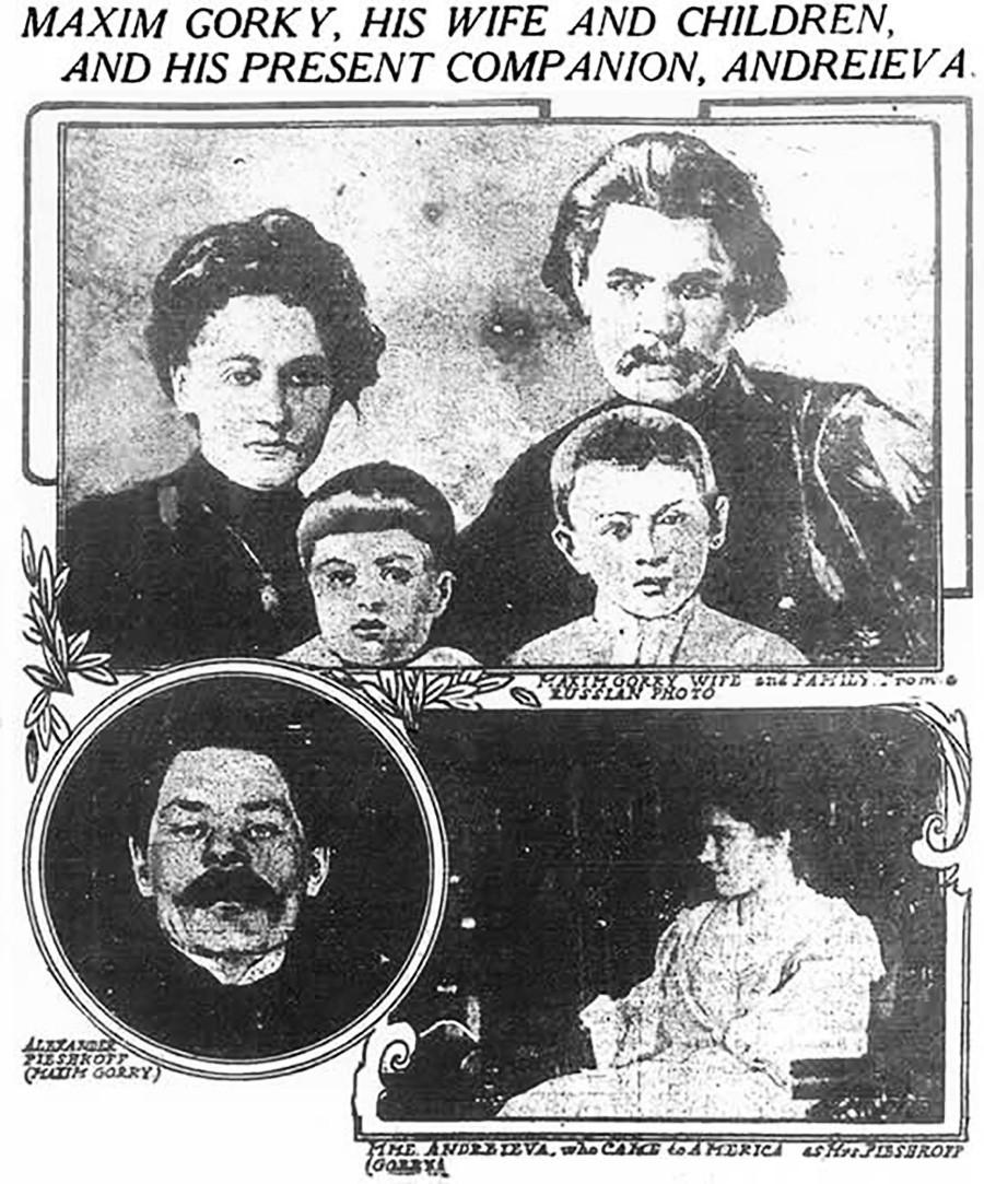 Колаж у новинама New York World. Горе: Максим Горки са женом и двоје деце. Десно: Марија Андрејева. Лево: Максим Горки.
