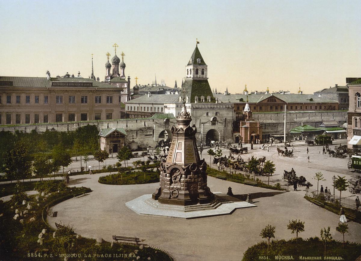Razglednica iz 19. stoletja: Kapela-spomenik padlim pod Plevno na trgu Iljinka, Kitaj-gorod, Moskva