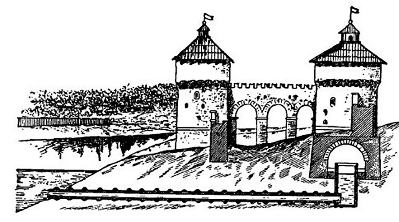 Gambar konstruksi bagian dalam menara Taynitskaya dan sumur rahasia.