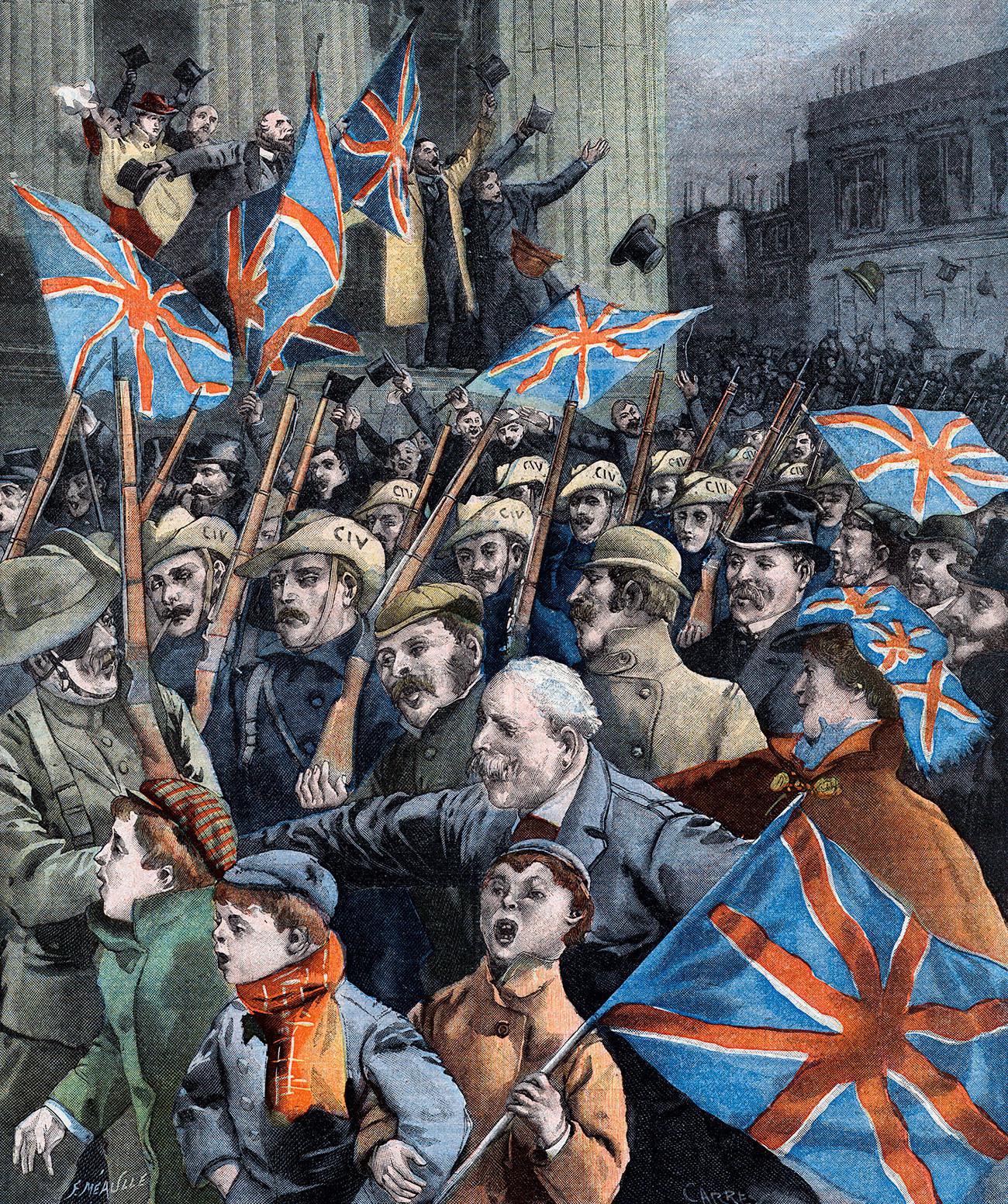 Druga burska vojna. Britanski prostovoljci se vračajo domov.