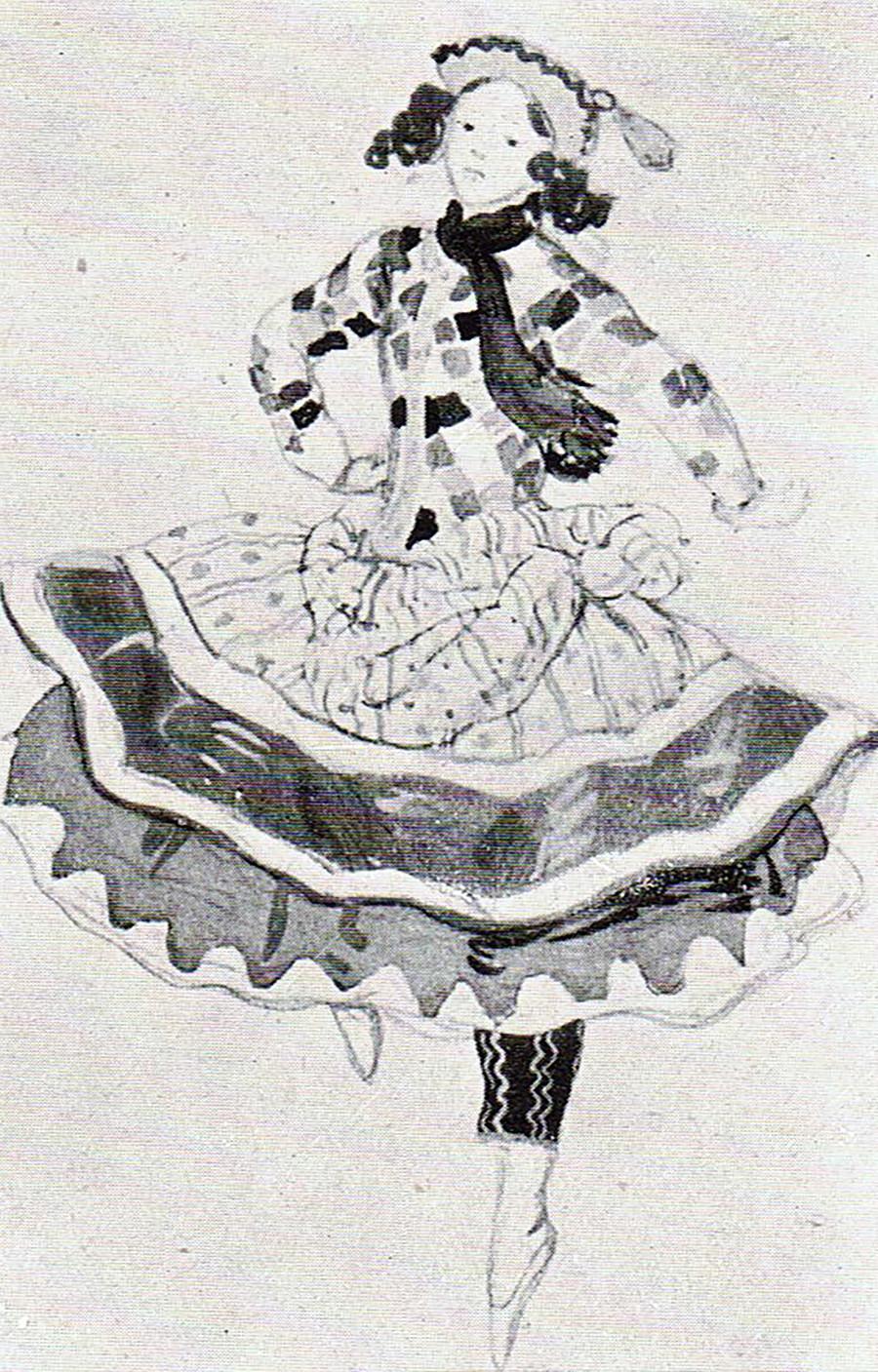 Alexandre Benois. Esquisse pour le ballet Petrouchka, 1911