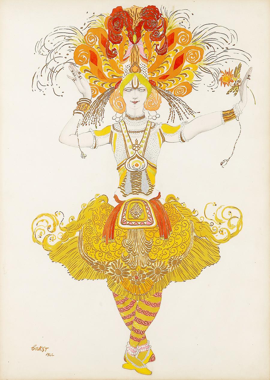 Léon Bakst. Croquis du costume de l'oiseau de feu pour le ballet L'Oiseau de feu, 1922
