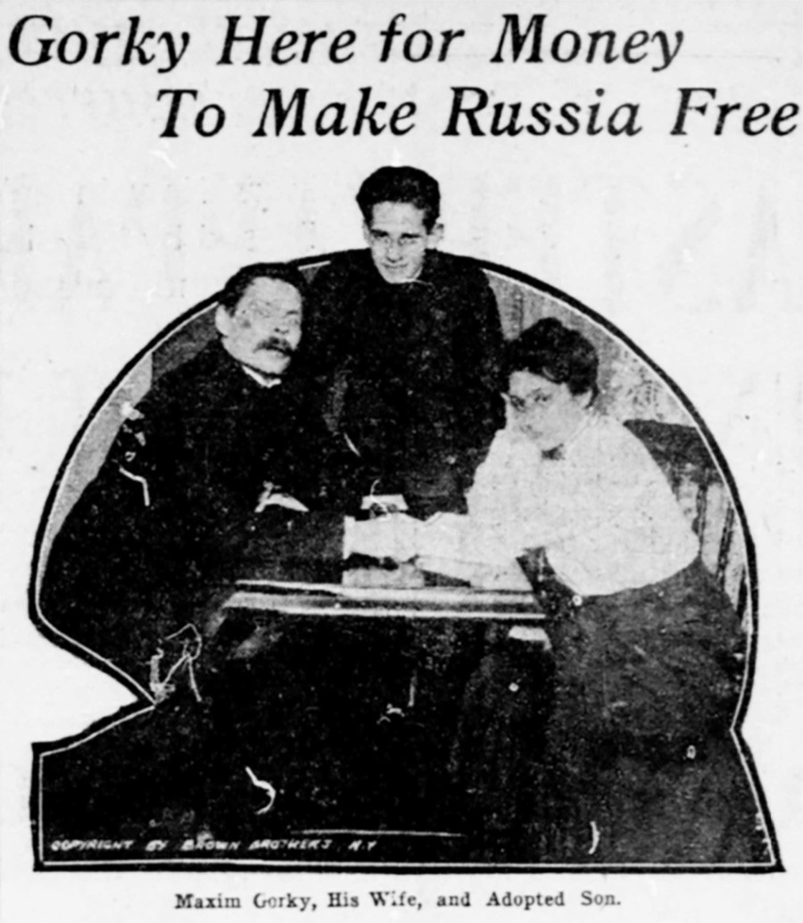 Gorki est ici pour l'argent afin de libérer la Russie. Sur la photo, sa femme et son fils adoptif Zinovi Pechkoff. The Washington times, 1906