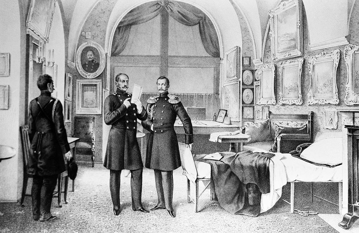 """""""Nachrichten von der Krim"""" von A.A. Koslow. Zar Nikolaus I. in seinem Arbeitsraum im Winterpalast."""
