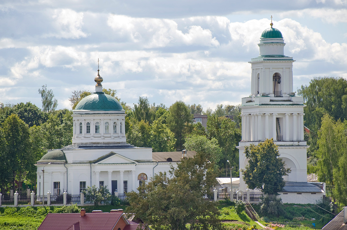 Rzhev. Cathedral of the Okovetsky Icon of the Virgin. North facade seen across Volga River. August 13, 2016.