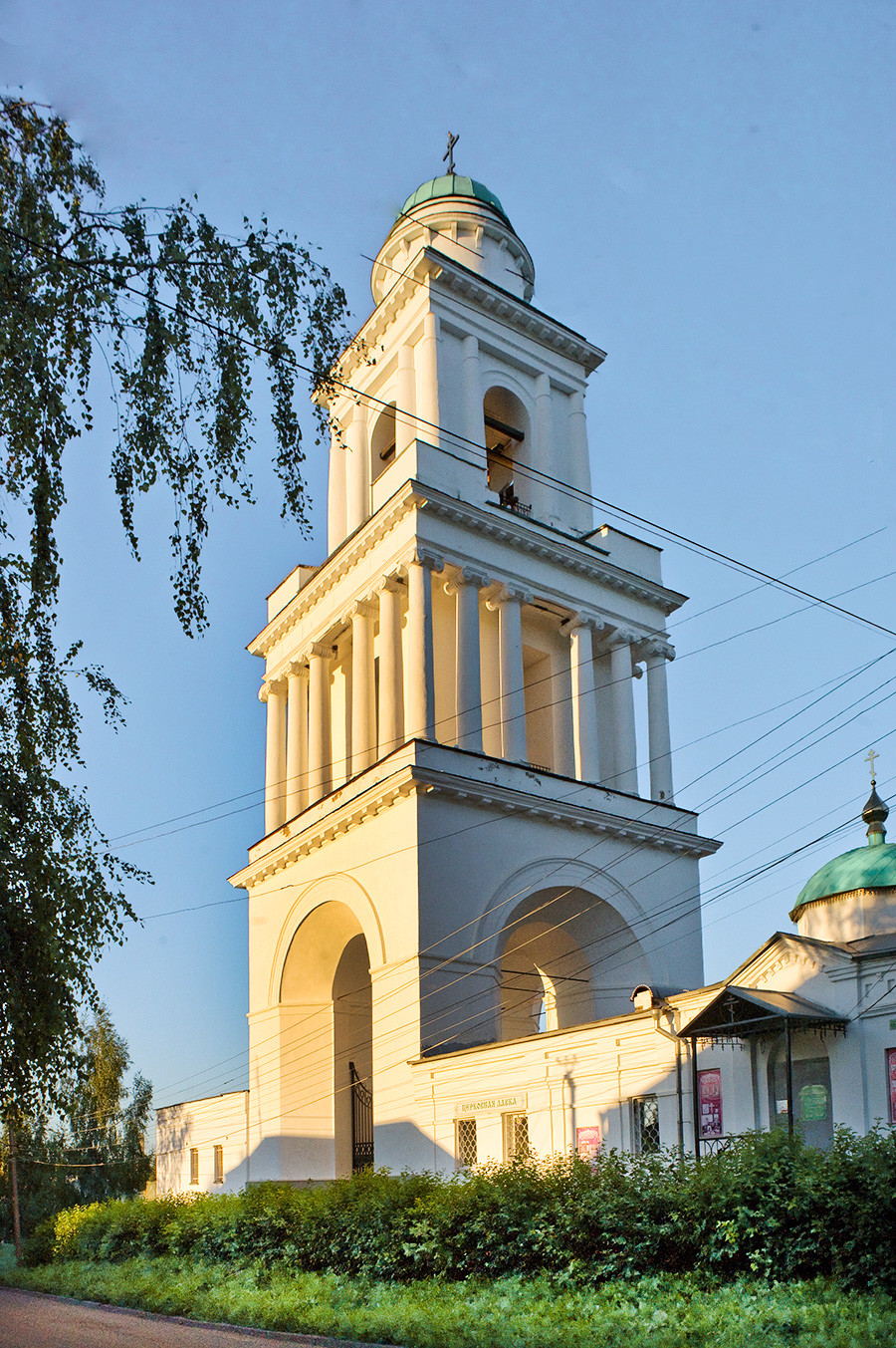 Bell tower of Cathedral of the Okovetsky Icon. Southwest view. August 24, 2016.