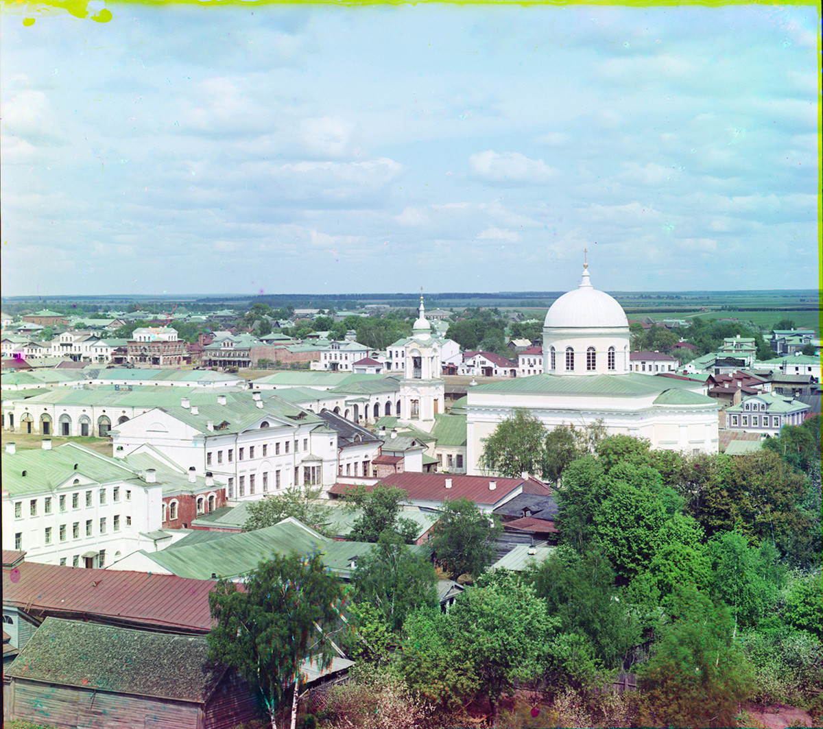 View of Prince Fyodor Side from bell tower of Dormition Cathedral. Center: Cathedral of Nativity of Christ. (All destroyed during war). Summer 1910.