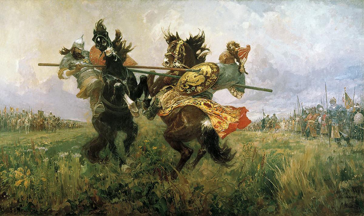 """""""Двобој Пересвета и Челубеја на Куликовом пољу"""", Михаил Иванович Авилов, 1943."""