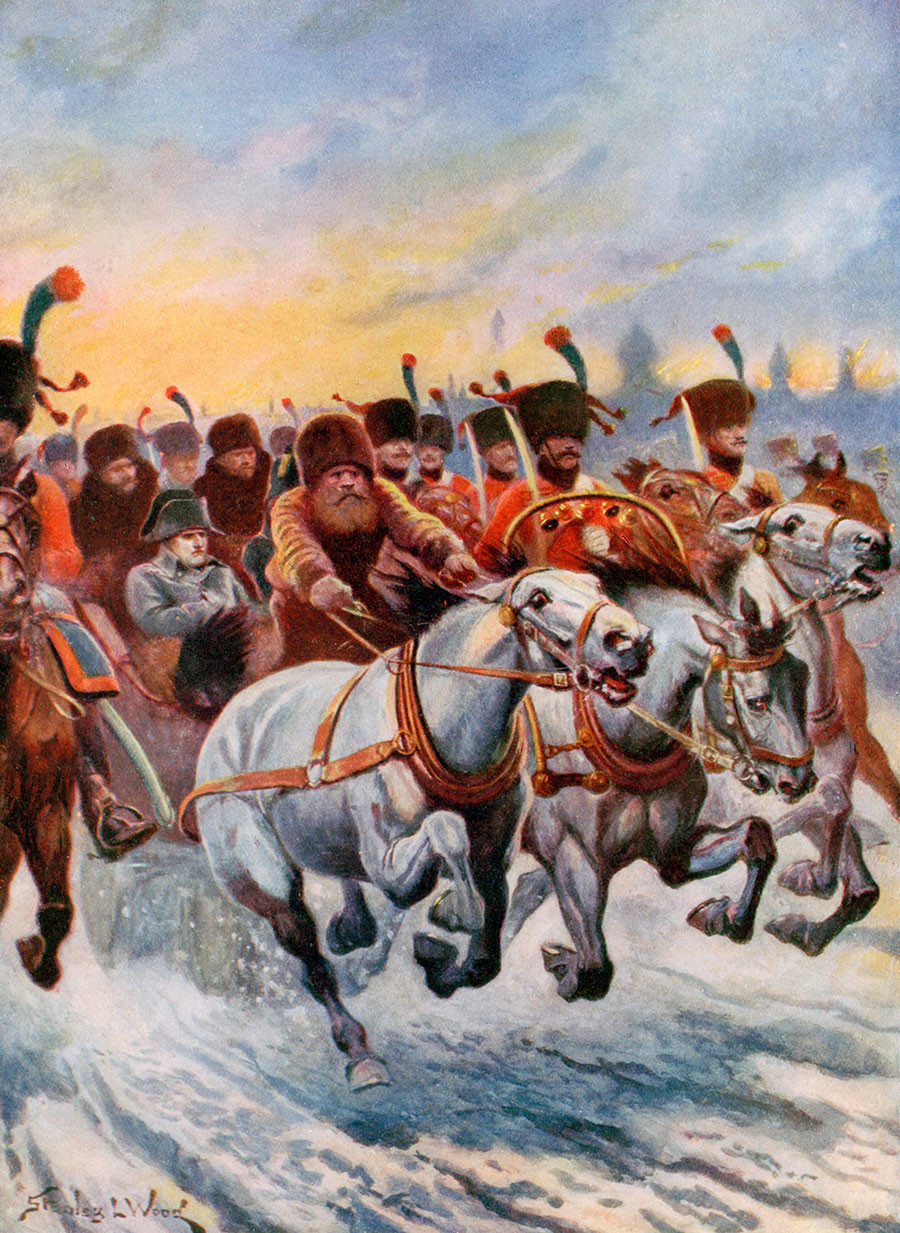 Наполеон се повлачи из Москве 1812. Од 600.000 војника Велике армије кући се вратило само стотинак хиљада. Илустрација у књизи, почетак 20. века.