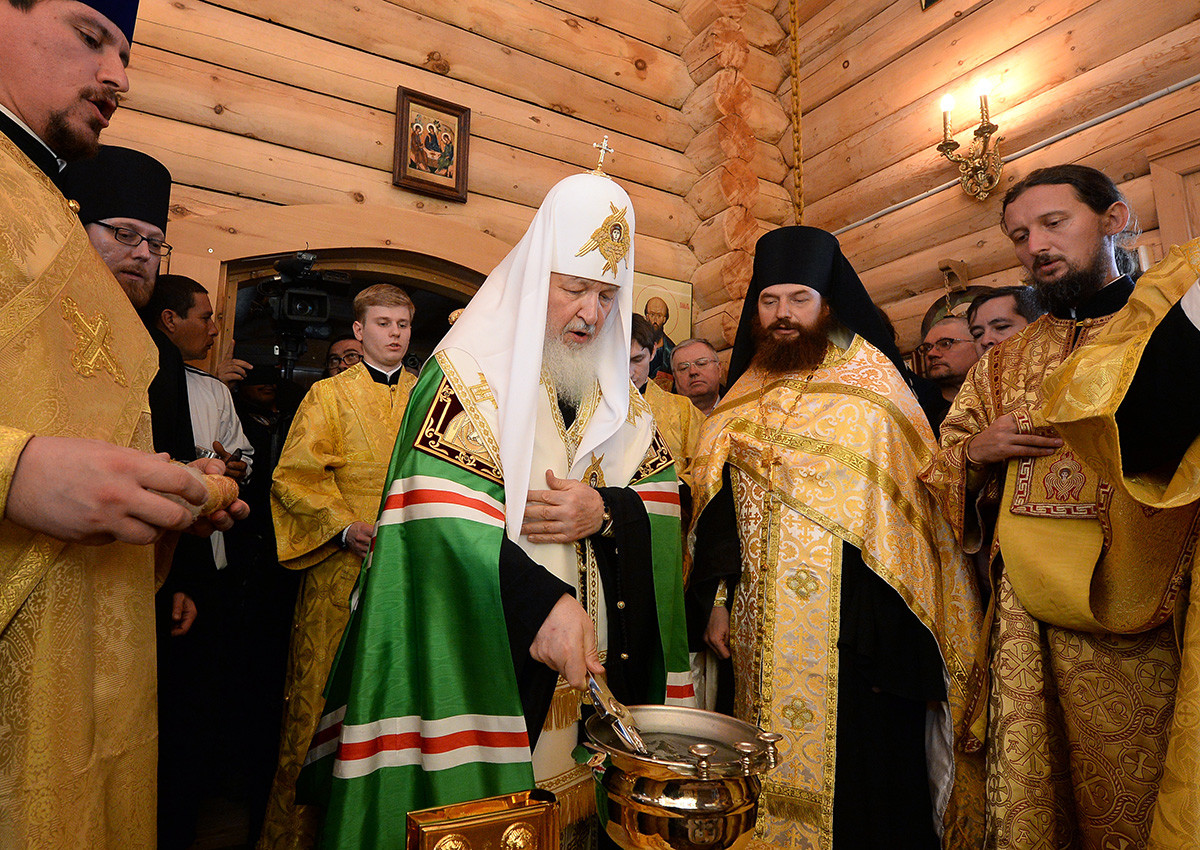 Patriarch Kirill (C) of Moscow and All Russia conducts a service at the Holy Trinity Church at Russia's Bellingshausen research station on King George Island.