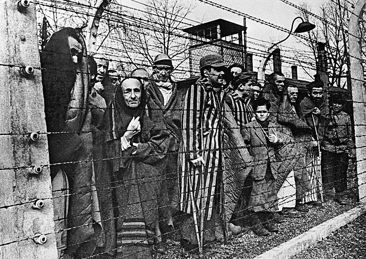 Заворници в Аушвиц непосредствено преди освобождението им