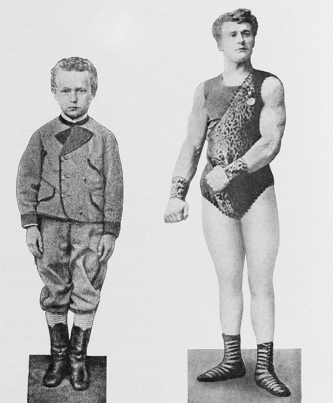 Jevgenij Sandov pri 10 (levo) in 18 (desno) letih