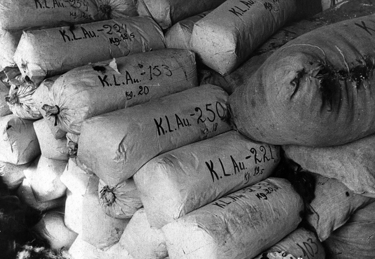 Вреќи полни со коски од убиени затвореници.