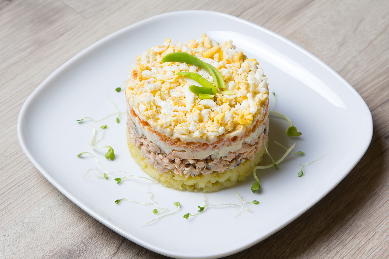 Mimosa salad has become a regular on the festive menu since it appeared in the 1970s