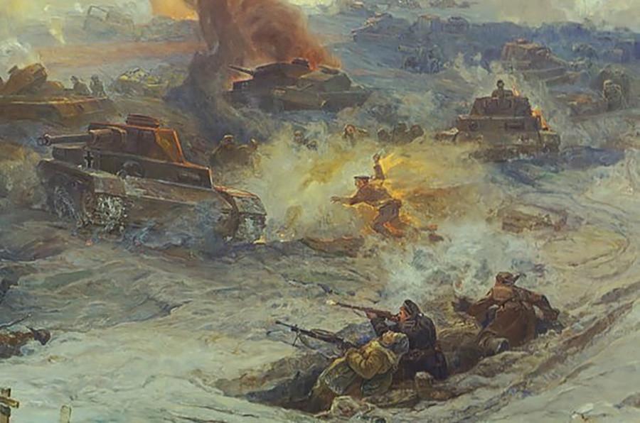 """""""Es gab einen gewaltigen Blitz, Feuer und Rauch verschlangen den Helden und den Panzer der Nazis."""""""
