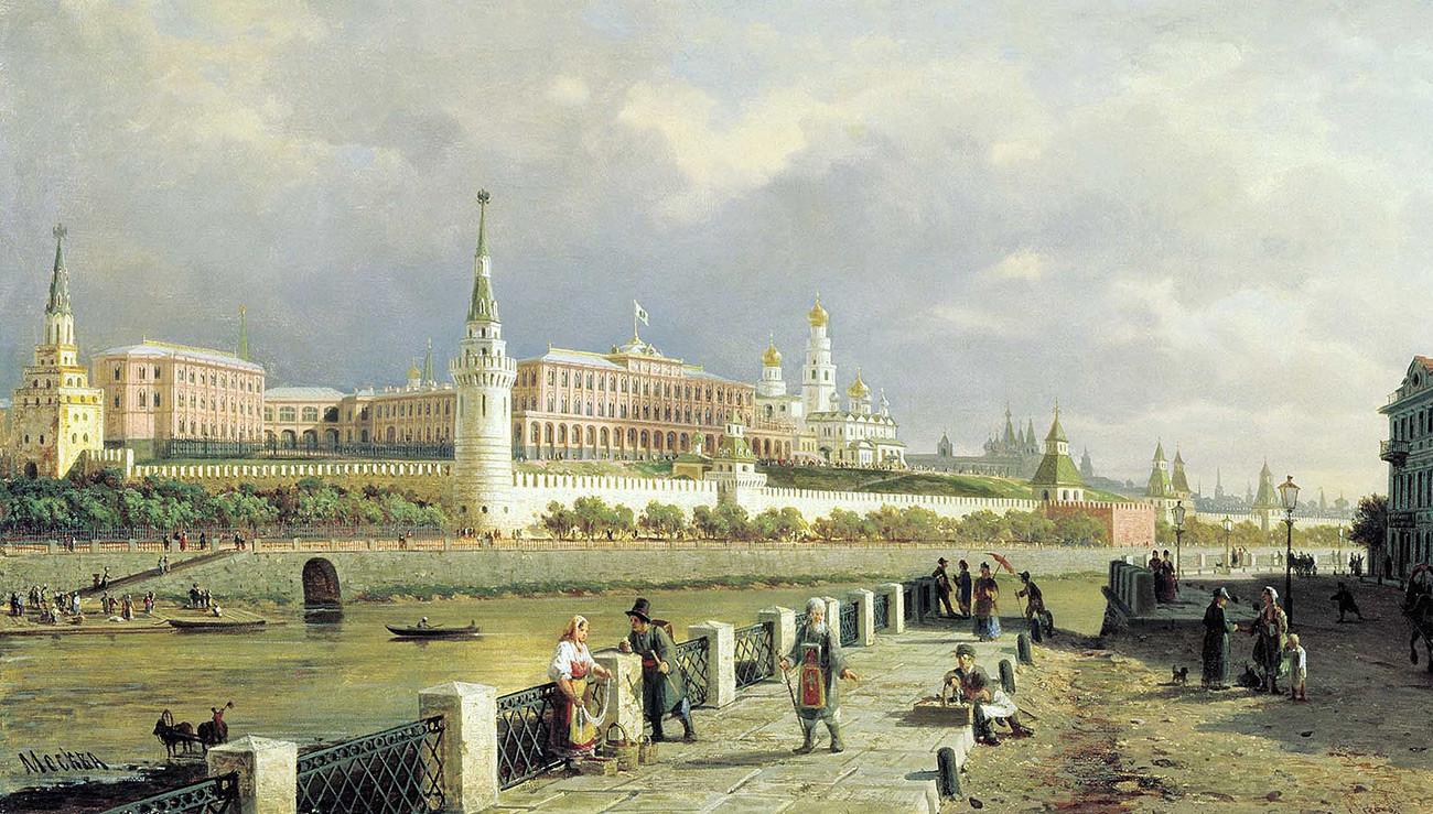 """Поглед на московскиот Кремљ"""