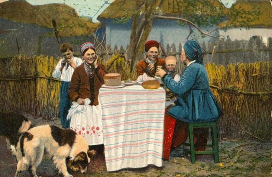 En la casa de Kuma. Malorossiya. A comienzos de la década de 1900.