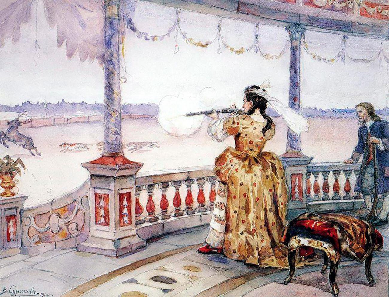 «Императрица Анна Иоанновна в петергофском Тампле стреляет оленей»