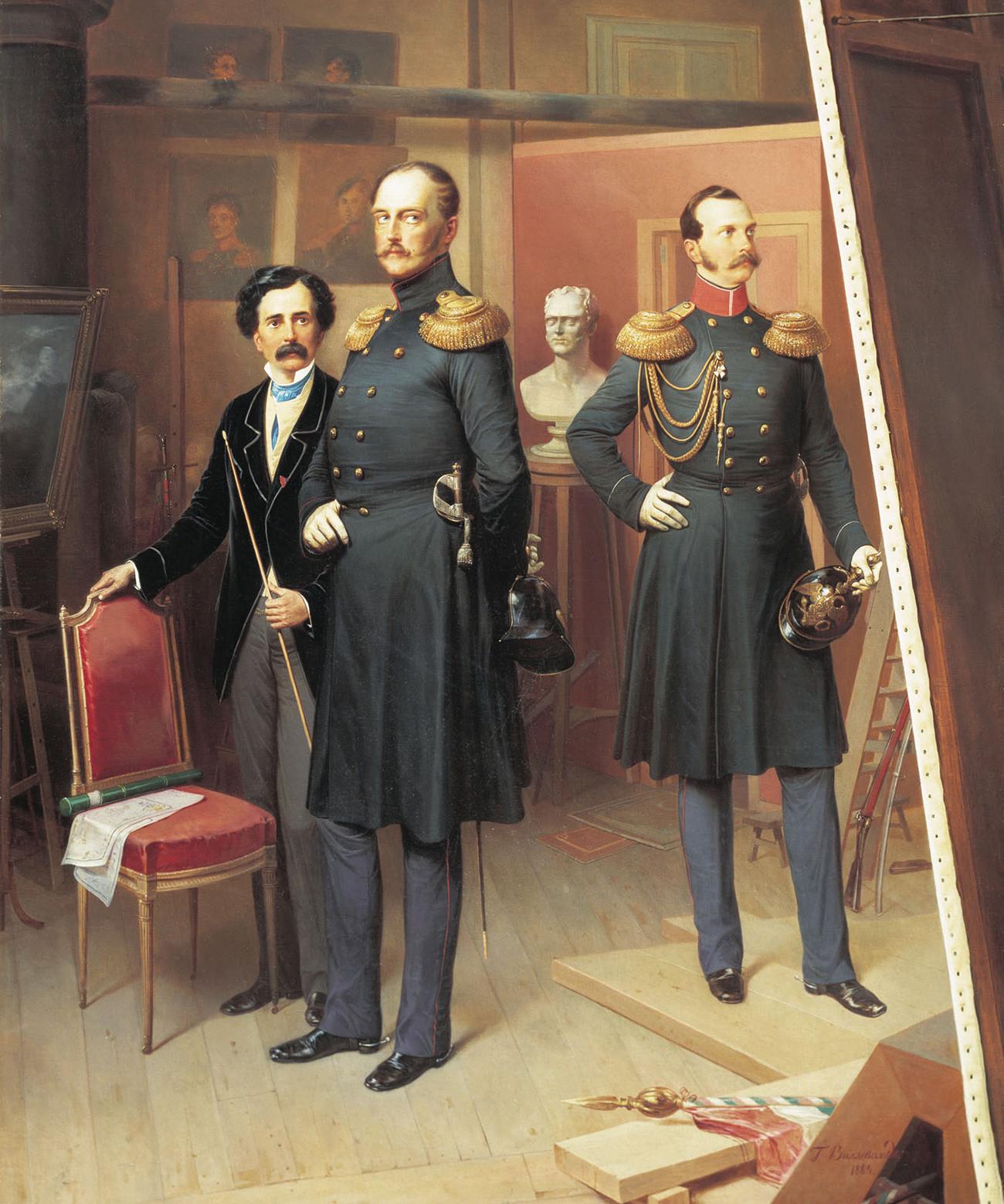 Николай I с цесаревичем Александром Николаевичем в мастерской художника в 1854 году
