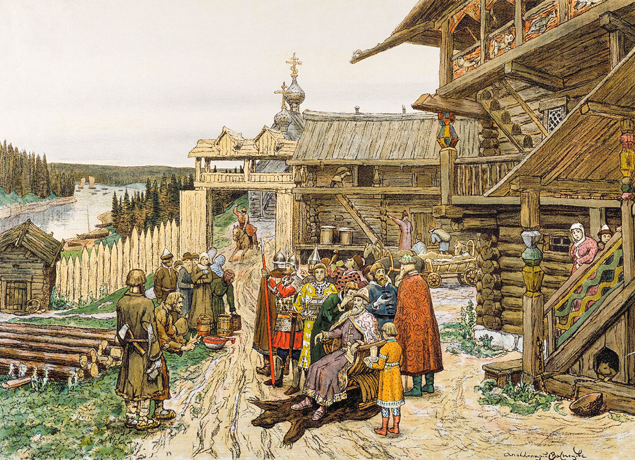 'At the court of a Russian prince' by Appolinary Vasnetsov. You can see the prince is the only person seated, which shows his status.
