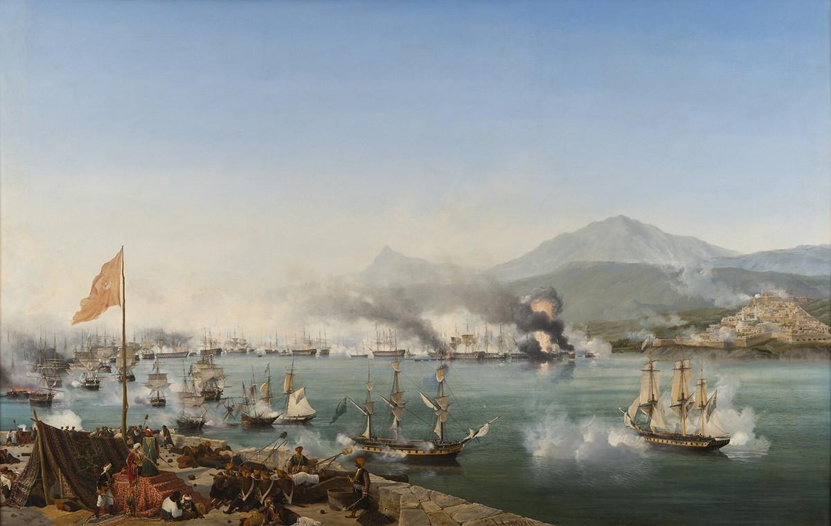 Bataille de Navarin entre les flottes, d'un côté turque, et de l'autre russe, anglaise et française