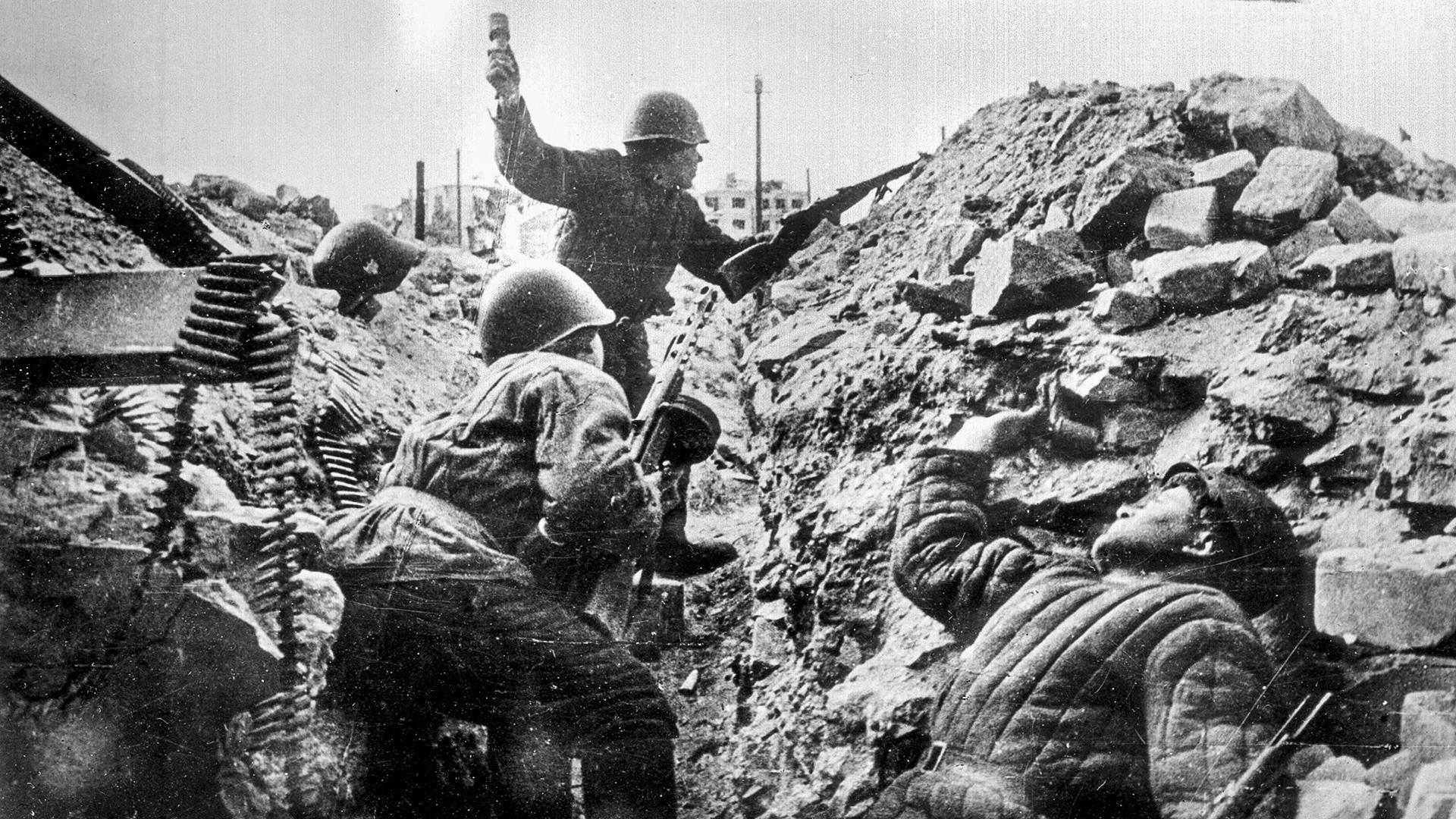 Drugi svjetski rat. Bitka za Staljingrad. Ruski vojnici.