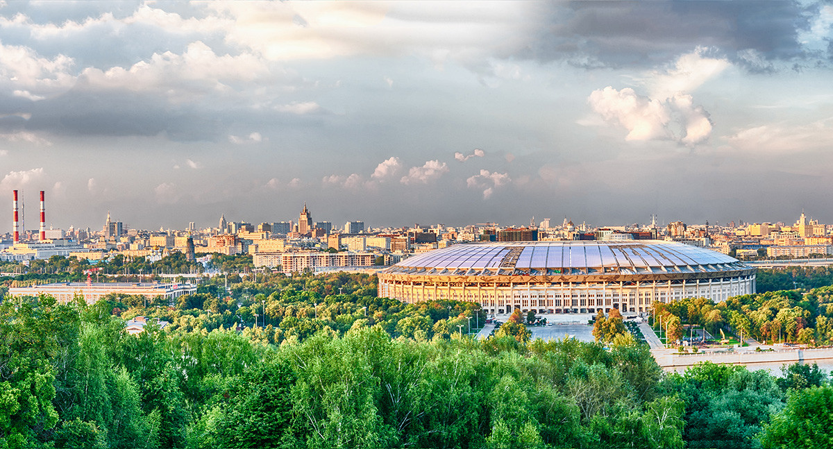 Panoramic view of central Moscow and Luzhniki Stadium from Sparrow Hills