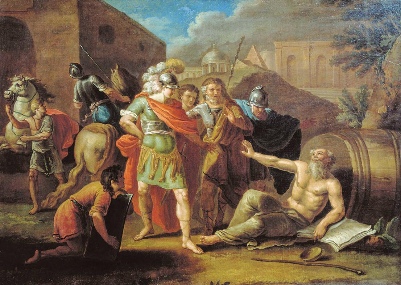 """""""Alexander von Mazedonien mit Diogenes von Sinope"""" von Iwan Tupylew"""