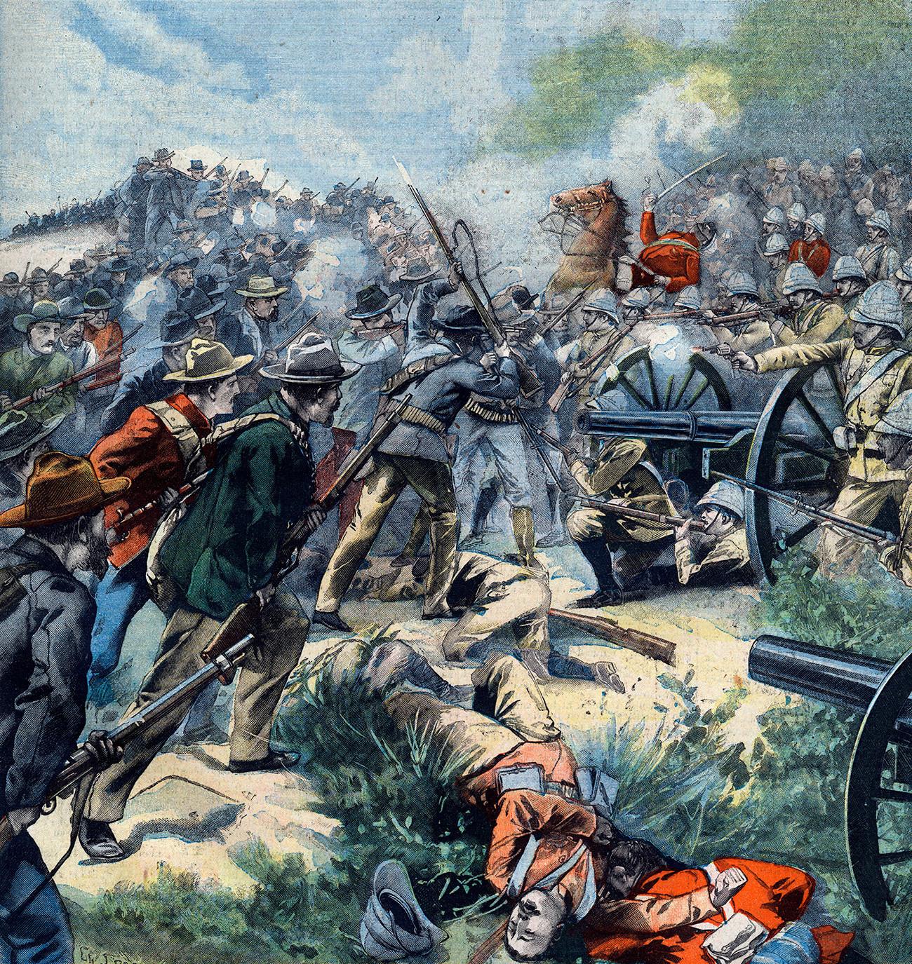 Втора бурска војна во Трансвал, пораз на Англичаните во Беркелакт. Насловна страница на францускиот весник Le Petit Parisien, 17 ноември 1901 година.