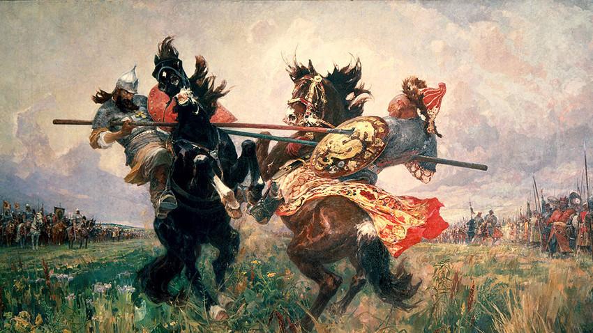 """""""Duel di Padang Kulikovo"""", Mikhail Avilov, 1943. Konon, pertempuran ini didahului oleh duel antara dua orang kuat dari masing-masing pihak."""