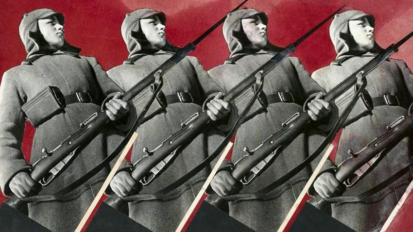"""El Ejército Rojo. Montaje fotográfico para la revista """"Abroad"""""""