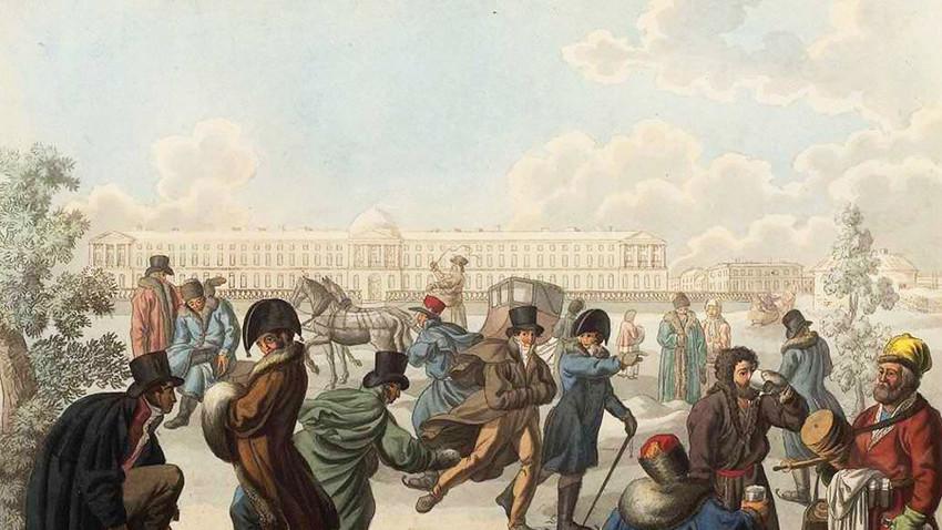 Skating on the Neva by Emelyan Mikhailovich Korneev, Graphics, 1812
