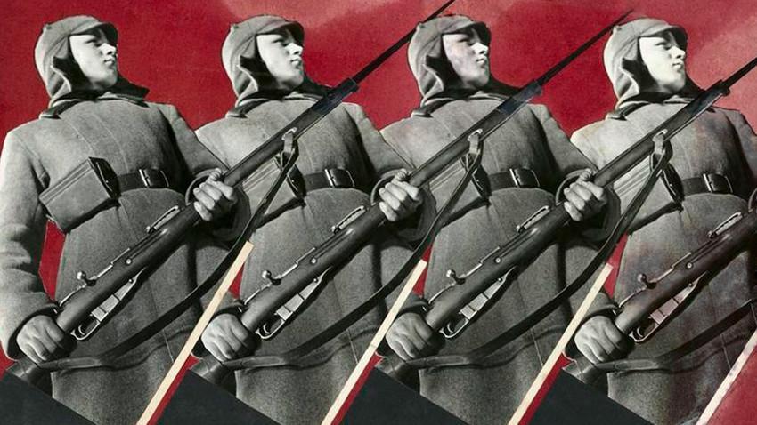 """O Exército Vermelho. Montagem de fotos para a revista """"Abroad"""""""