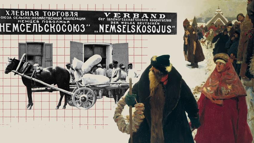 Доаѓање на странци во Москва во 17 век./Работниците истоваруваат вреќи со жито во германската дијаспора на Волга. 1921 година.