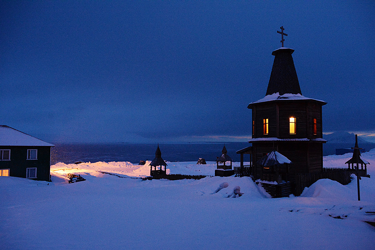 An old wooden chapel in the miners' town of Barentsburg on the Svalbard archipelago.