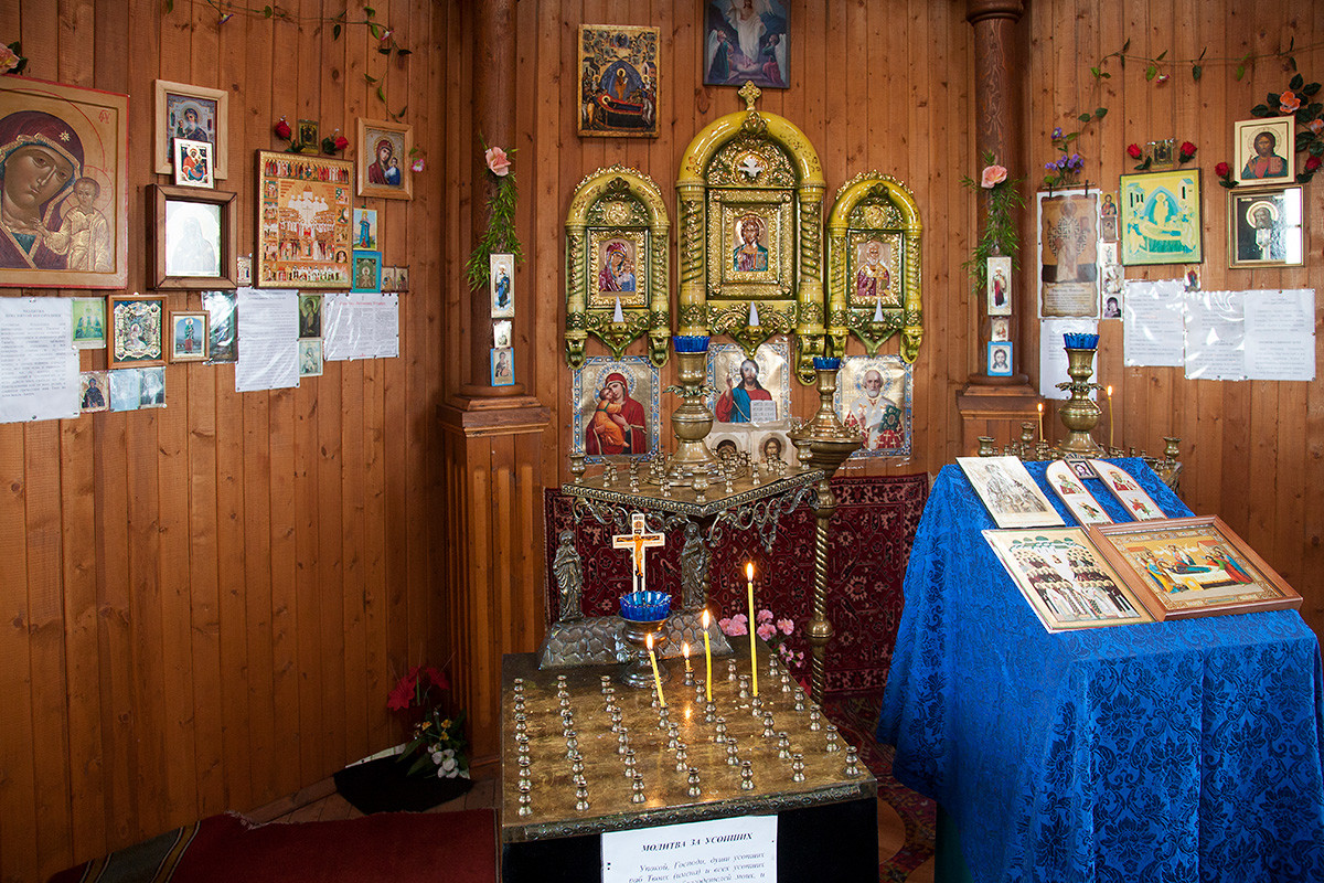 Interior of the wooden Russian Orthodox church in Pomor style at Barentsburg.