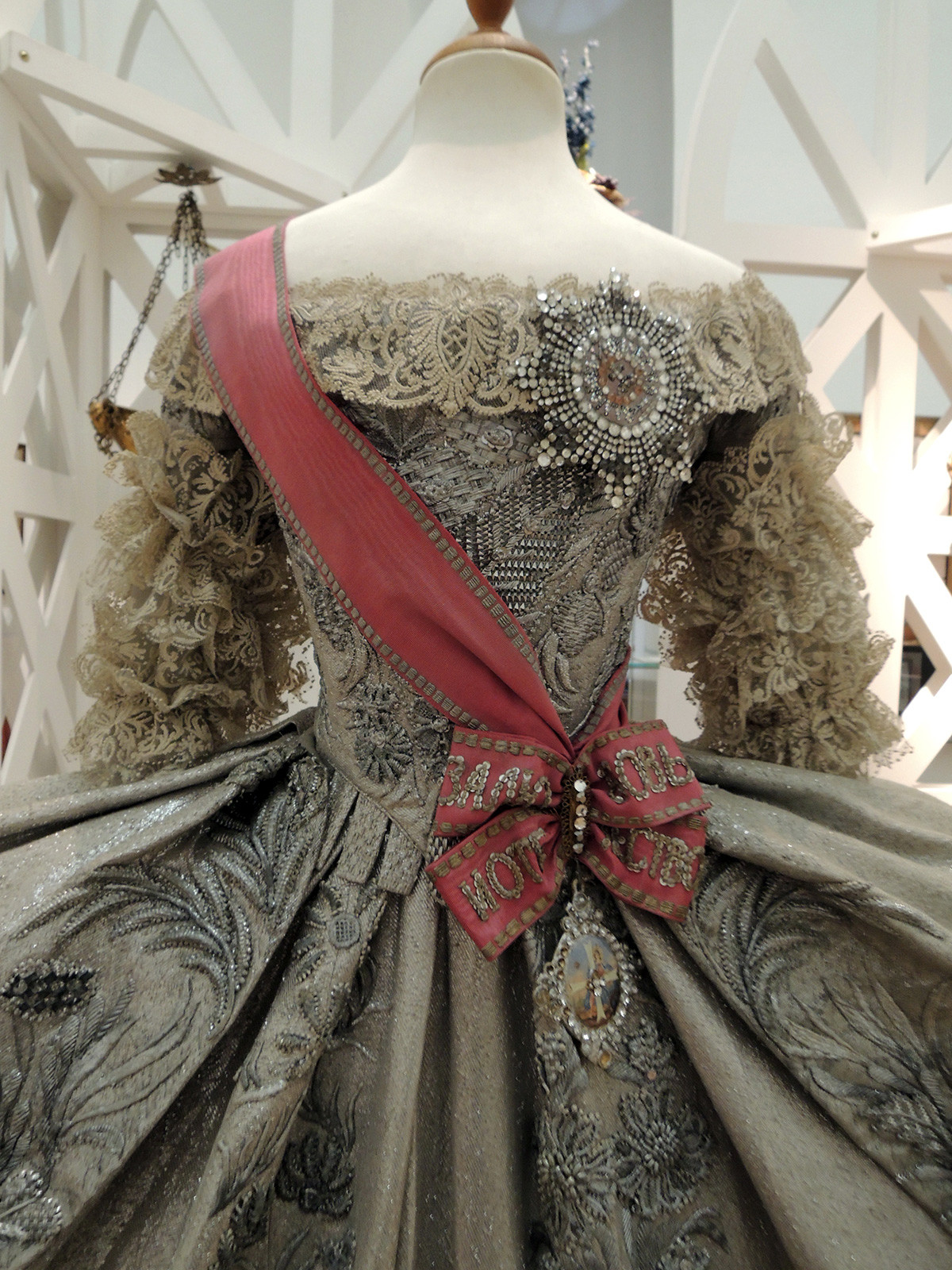 A replica of Catherine I's wedding dress, decorated with a Star and a Badge of the Order of St. Catherine.