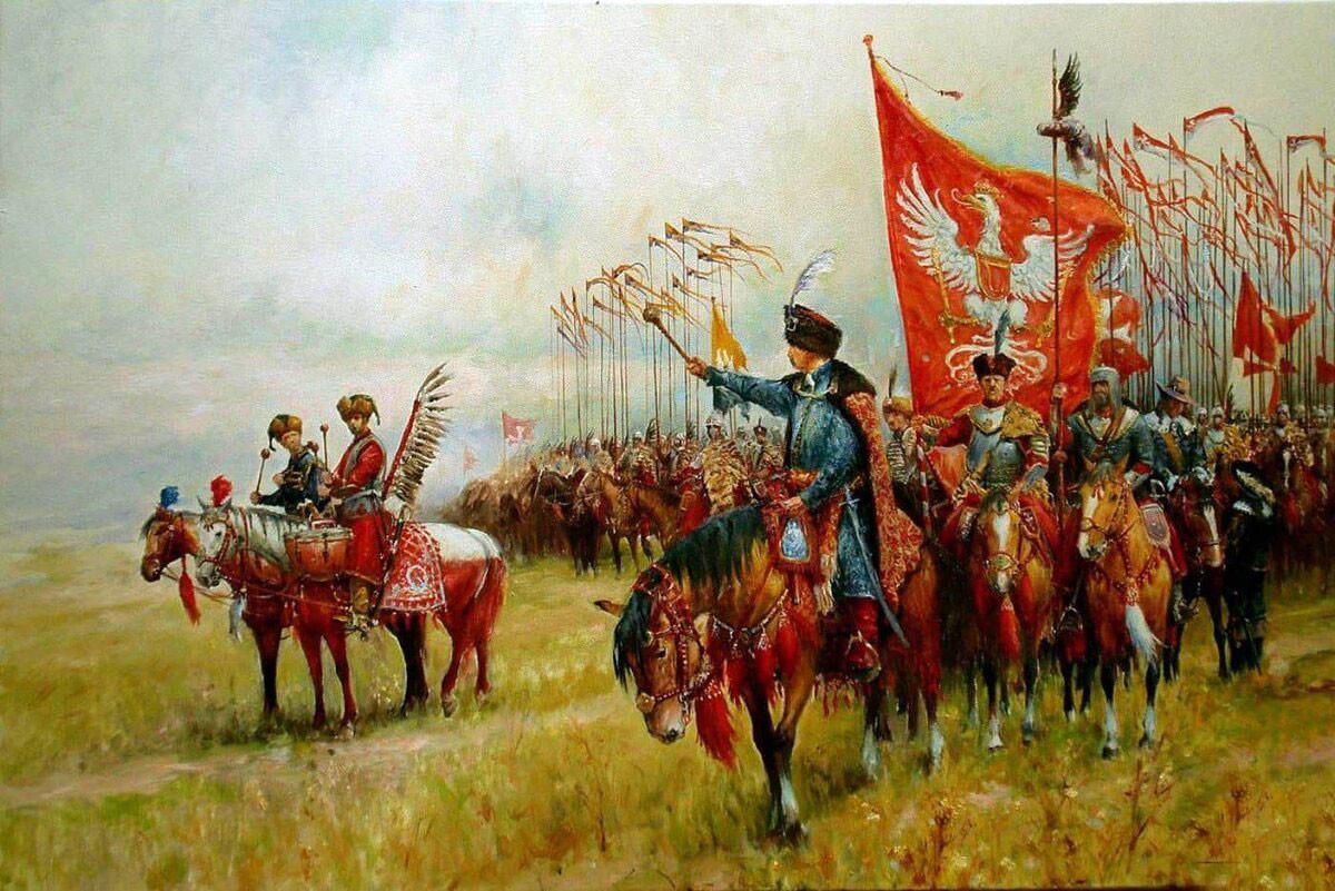 Fuerzas de la Mancomunidad de Polonia-Lituania cantando el himno de Bogurodzica (Madre de Dios), de Józef Brandt.  Oleo sobre lienzo
