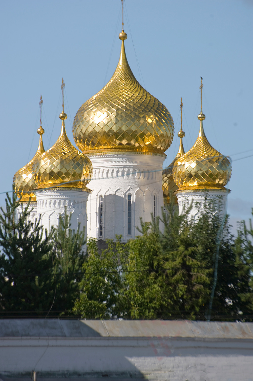 Epiphany Cathedral. South view with golden cupolas of original 16th-century structure. August 12, 2017.